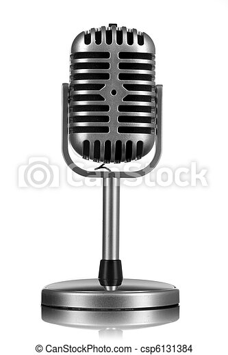 isolado, microfone, branca, retro - csp6131384