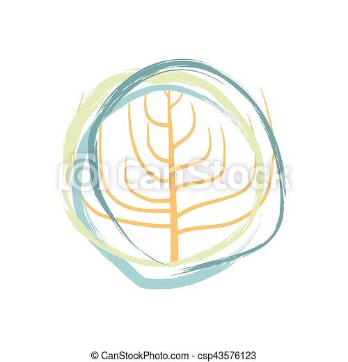 isolated., いたずら書き, 抽象的, 木, 背景, 白, 植物 - csp43576123