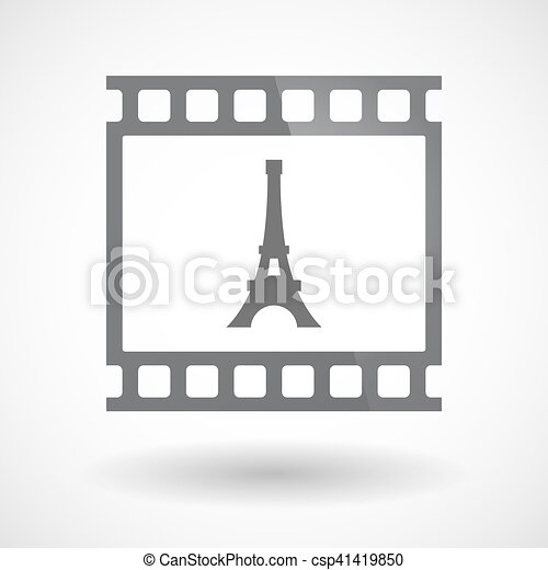 Isolated 35mm film frame slide photogram with   the Eiffel tower - csp41419850