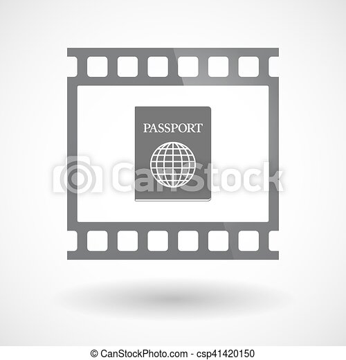 Isolated 35mm film frame slide photogram with  a passport - csp41420150