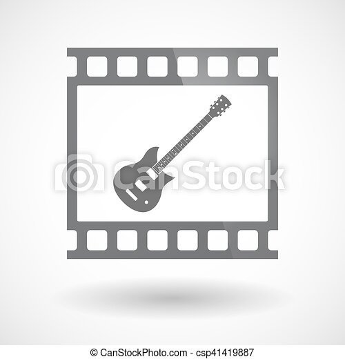 Isolated 35mm film frame slide photogram with  an electric guitar - csp41419887