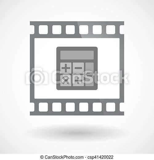 Isolated 35mm film frame slide photogram with  a calculator - csp41420022