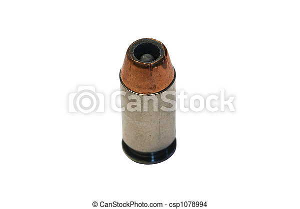 Isolated .45 caliber bullet on white  - csp1078994