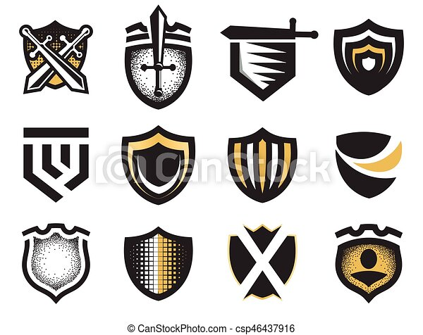 Isolated Abstract Medieval Shields Logos Set Coat Of Arms Logotypes