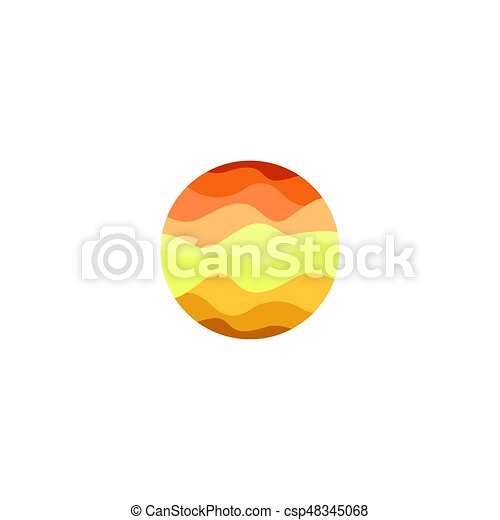 Isolated Abstract Orange Color Round Shape Logo On White Background Sun Vector Illustration