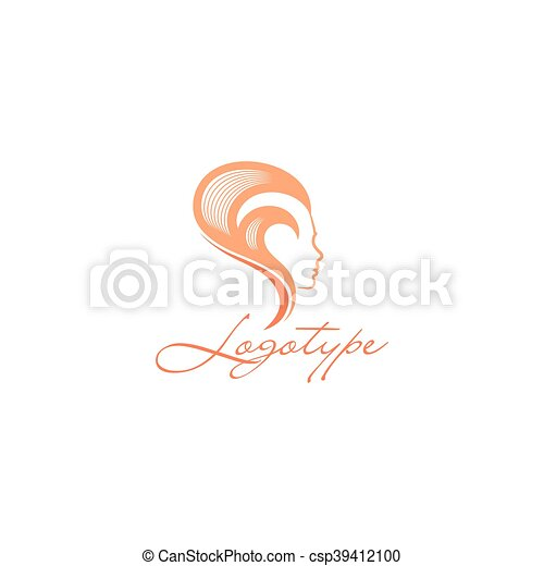 Isolated Abstract Women Head Side View Vector Logo Pink Color