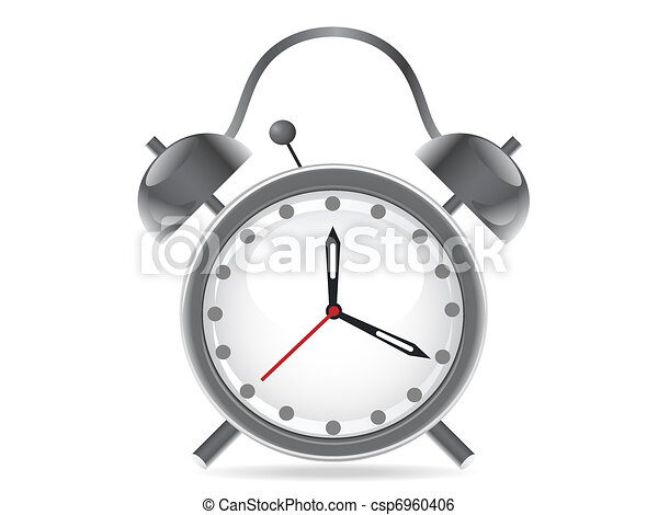 isolated alarm clock on white background - csp6960406