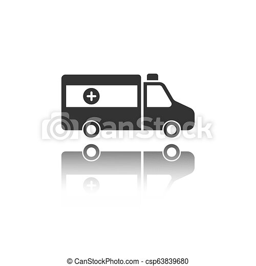 Isolated ambulance icon on a white background with reflection - csp63839680