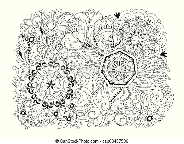 isolated arabesque composition with mandalas