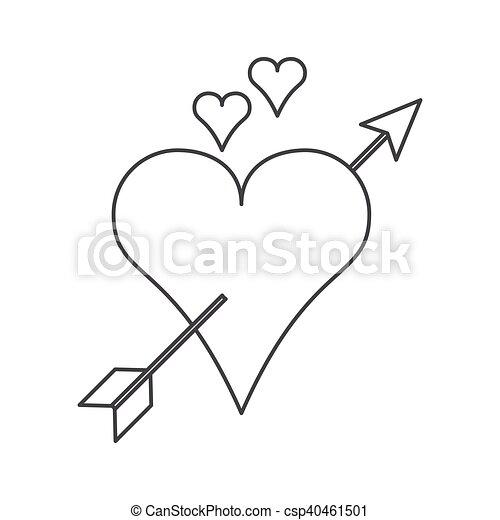 isolated arrow through heart design arrow through heart icon love