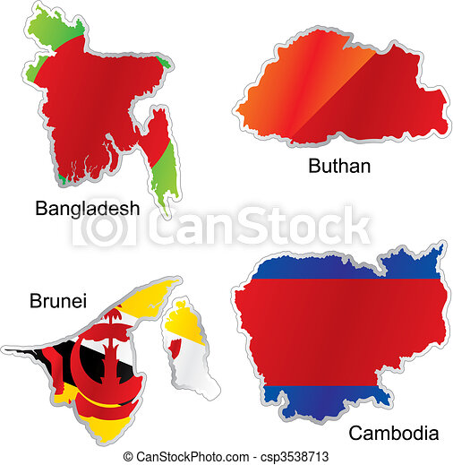 isolated asian flags in map shape  - csp3538713