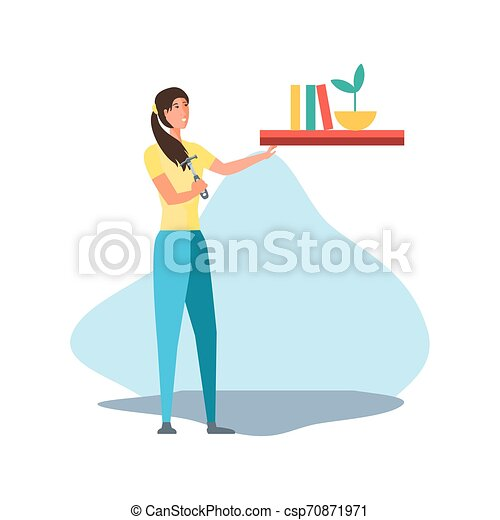 Isolated avatar woman and shelf design - csp70871971
