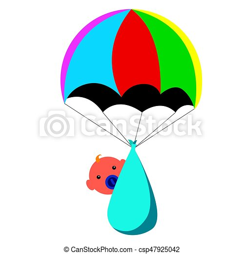 isolated baby and a parachute vector illustration eps vector rh canstockphoto com clipart parachute gratuit parachute clipart png