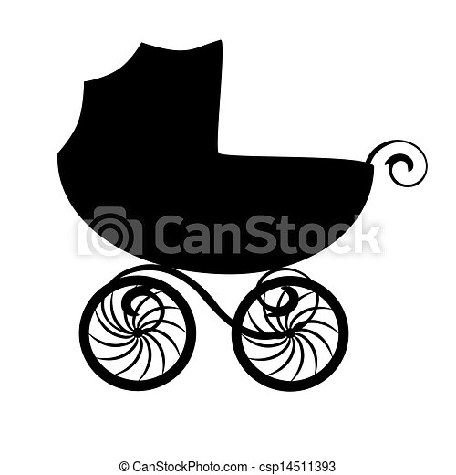 isolated baby carriage silhouette isolated black baby eps rh canstockphoto com baby pram clipart free baby boy carriage clipart