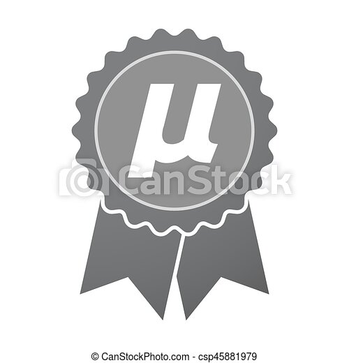 Isolated Badge With A Micro Sign Mu Greek Letter Illustration Of