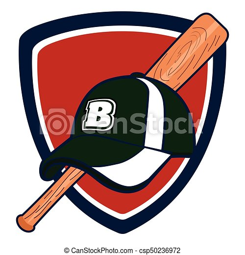 isolated baseball emblem with a bat and a hat vector illustration rh canstockphoto com Baseball Bat Vector Silhouette Vector O Baseball Bat