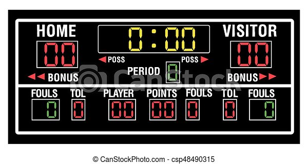 isolated basketball scoreboard on a white background vector rh canstockphoto ie football scoreboard clip art free clipart baseball scoreboard