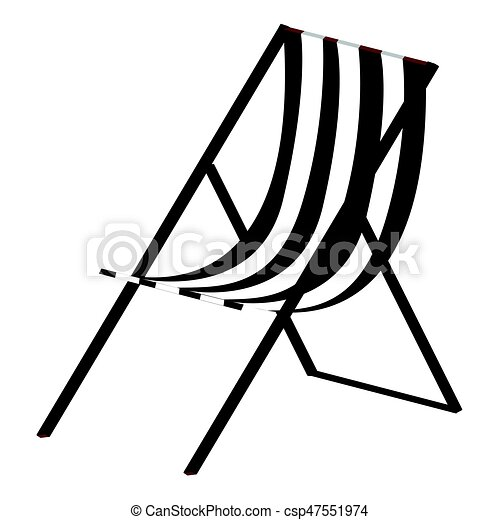 Isolated beach chair silhouette
