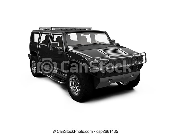 isolated big jeep view - csp2661485