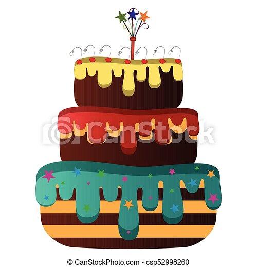 Isolated birthday cake - csp52998260