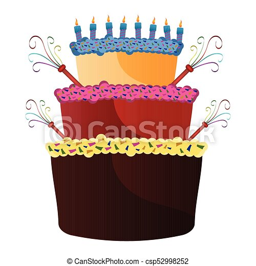 Isolated birthday cake - csp52998252