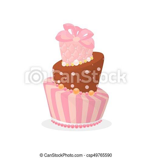Isolated Birthday Cake On White Background