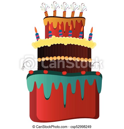 Isolated birthday cake - csp52998249