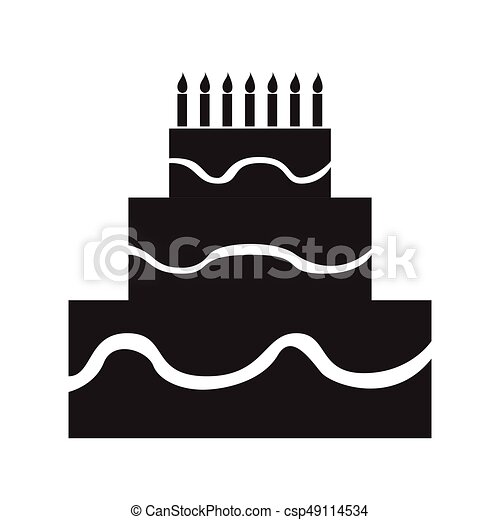 Isolated birthday cake silhouette - csp49114534