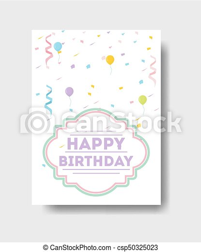 Isolated Birthday Card Greetings With Cute Decorations