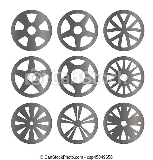 Isolated black and white color alloy wheels logo ...