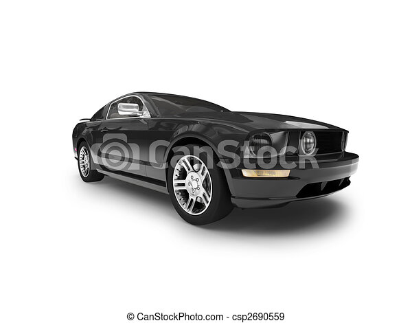 isolated black car front view 01 - csp2690559