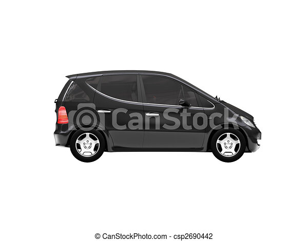 isolated black car side view 01 - csp2690442