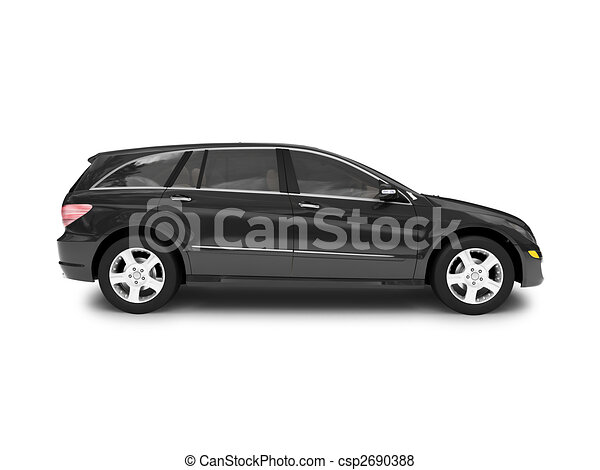isolated black car side view - csp2690388