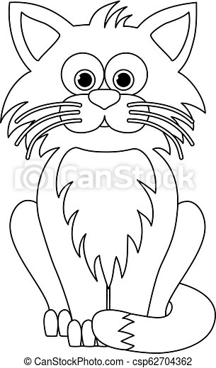 Isolated Black Outline Cartoon Sitting Cat On White Background Curve Lines Page Of Coloring Book Halloween Illustration