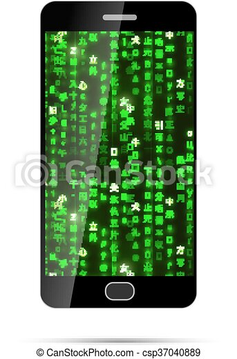 Isolated Black Smartphone With Green Matrix Symbols On Screen