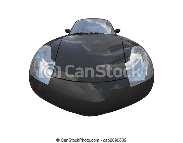isolated black super car front view 04 - csp2690809