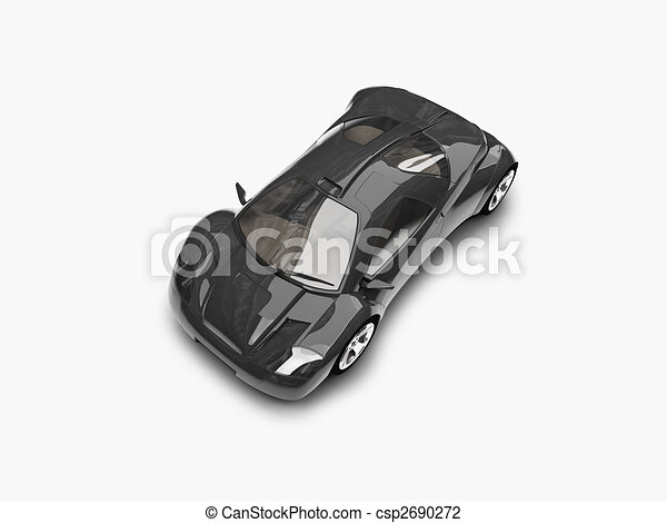 isolated black super car top view 02 - csp2690272