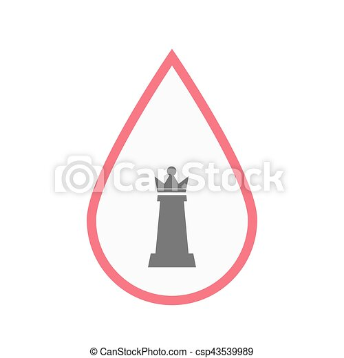 Isolated Blood Drop With A Queen Chess Figure Illustration Of An
