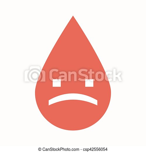 Isolated Blood Drop With A Sad Text Face Illustration Of An