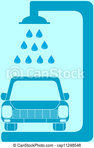 isolated blue sign car wash - csp11248548