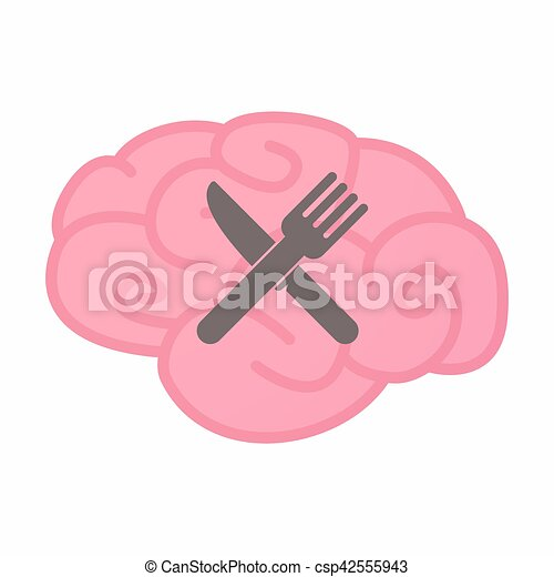 Isolated brain with a knife and a fork - csp42555943