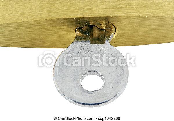 Isolated Brass lock and key macro - csp1042768
