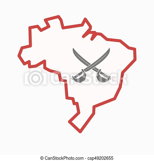 Isolated Brazil map with two swords crossed