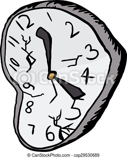 Isolated Broken Clock Illustration Of Shattered And Broken Clock