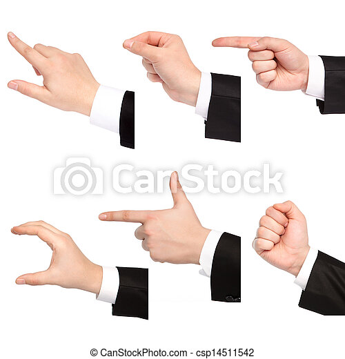 isolated businessman hand point or hold or touch any objects - csp14511542