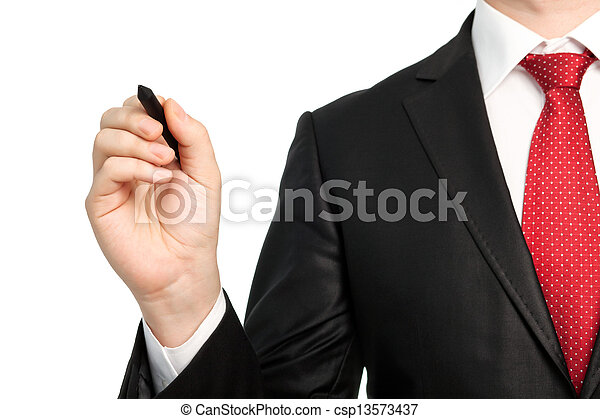 Isolated businessman in a suit with a red tie holding a pen - csp13573437