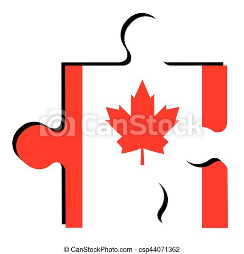 isolated canadian flag isolated piece of puzzle with the clip rh canstockphoto com canadian flag vector free download canadian flag vector file
