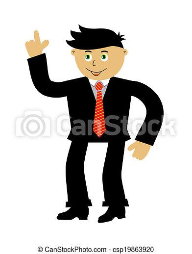 Isolated cartoon businessman. Vector illustration on white background - csp19863920