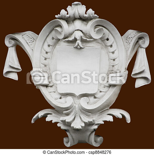 Isolated carved architectural shiel - csp8848276