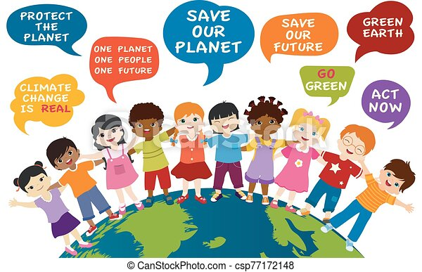 Isolated children of different culture and multiethnic people embracing each other on the globe. Speech bubble with messages for an eco environment and a green and sustainable future. Save our planet - csp77172148